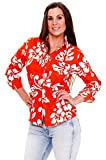 Funky Camisa Hawaiana, LS Hibiscus, orange, 4XL