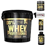 Multi Marca Gold's Nutrition 100% whey Protein Professional 5 kg proteine siero Cioccolato + BCAA +...