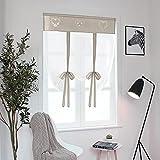 simpvale 1 pezzo tie up - tenda in voile tulle ricamo romano tenda - tende pannelli finestra per camera da letto, studio, bagno, cucina, marrone chiaro, 60x120cm