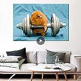 Danjiao Orange Hamster Mit Hantel Tier Kunst Leinwand