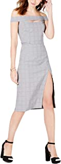 Junior's Plaid Off-The-Shoulder Sheath Dress