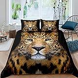 Loussiesd Leopard Bettbezug Set Geparden Drucken Bettwäsche Set 135x200cm Wild Animal Theme Betten Set für Jungen Mädchen Kinder Erwachsene Safari Wildlife Stil Mit 1 Kissenbezug