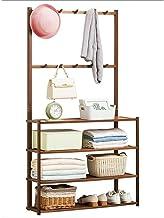 MU Drewniany przedpokój płaszcz stojak na buty 4-poziomowe półki bambusowy wieszak na ubrania stojak na ubrania wieszak na...