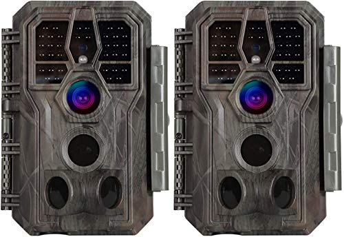 2 cámaras de caza de 24 MP, 1296P, cámara de vigilancia H.264, MP4/MOV, visión nocturna de 100 metros, lapso de tiempo de 0,1 s, exterior, resistente al agua, visión nocturna