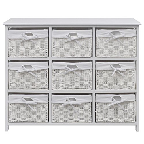 Festnight Wide Storage Unit with Wicker Baskets Chest of 9 Drawers Cabinet for Home Bedroom (White)