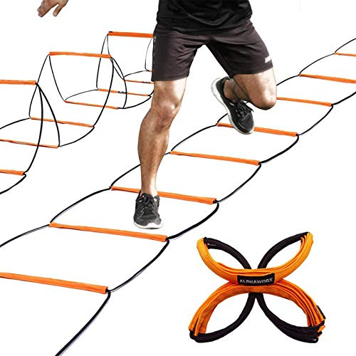 All-in-One Agility Ladder and Speed Hurdle Workout Ladder and Soccer Basketball Football Training Equipment Foldable Instant Set-up and Tangle-Free Professional Design (8+4 Rung)