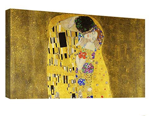 canvashop Quadri Moderni Soggiorno Il Bacio di Klimt cm 120x70 Quadro Stampa su Tela Canvas