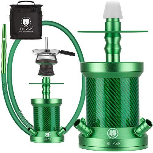 DILAW® Turtle X Carbon Shisha Aluminium 22cm Hookah to Go 4 Anschlüsse mit Tasche | Wasserpfeife |Edelstahl Kaminkopf | Komplettset | Tauchrohr mit Diffusor | Silikonschlauch Alumundstück Grün