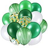 Hsei 60 Unidades de 12 Pulgadas de Globos de Confeti Conjunto de Globos de Látex de Ágata Globos de Colores para El Festival de la Selva Fiesta de Bienvenida Al Bebé (Verde, Blanco)