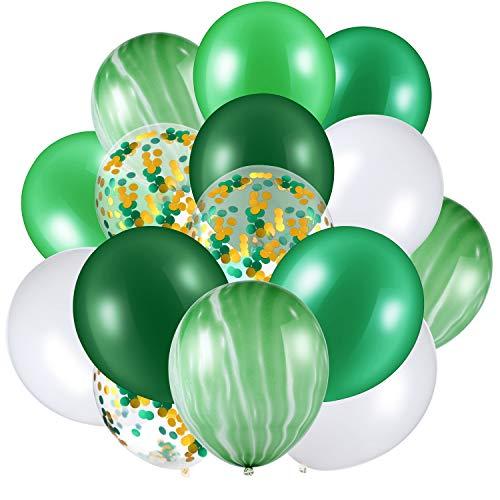 60 Stücke 12 Zoll Konfetti Luftballons Satz Achat Latex Luftballons Bunte Luftballons für Jungle Büro Festival Baby Dusche Hochzeit Geburtstag Party Lieferungen (Grün,Weiß)