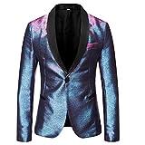 Mens Magic Color Tuxedo Suit Jacket Luxury Slim Fit Dress Blazer Prom Sport Coat,Blue/Rose Red,Medium