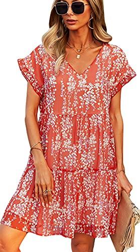 ZIYYOOHY Damen Hemdkleid A-Linie Polka Dot 3/4 Ärmel Frühling Tunika Kleid Lose Minikleid Casual Swing Kleid Sommerkleid (3057 Rot, x_l)