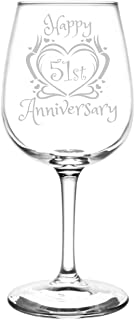 (51st) Heart & Ribbon Happy Anniversary Inspired - Laser Engraved 12.75oz Libbey All-Purpose Wine Taster Glass