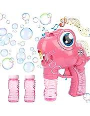 GUBOOM Máquina de pompas de jabón para niños, pistola de pompas de jabón, juguete con botella de recarga, para niños y adultos, para fiestas al aire libre, bodas, fiestas de verano