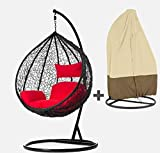 duzo hanging swing chair with stand cushion and water proof cover for garden patio balcony outdoor indoor white