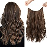 HOOJIH Halo Hair Extensions 3 Ways Adjustable Head Size Curly Wavy Halo Wigs 20 Inch 140 Gram Hidden Crown Invisible Secret Extensions for Women - Ginger Medium Brown