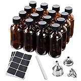 SMARTAKE 16-Pack 2oz Boston Round Amber Glass Bottles, Sample Bottles, Dispensing Bottles, Apothecary Bottles - with Black Poly Cone Caps, 3 Stainless Steel Funnels, 24 Labels, 1 Liquid Chalk Marker
