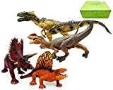 Gemini&Genius Standing and Movable Jaw Pentaceratops Allosaurus Dimetrodon Dilophosaurus Jurassic Park Dinosaur Figurine Set Good Choice for Christmas and New Year Collection 4 Pcs Dino Gift for Kids