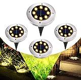 GEEDIAR Solar Garden Lights - 8 LEDs Solar Ground Lights for Outdoor Garden