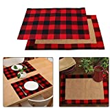 OurWarm 6pcs Buffalo Plaid Placemats Red and Black Buffalo Check Placemats, Reversible Cotton Burlap Christmas Placemats for Home Holiday Christmas Table Decorations, 12 x 18 Inch