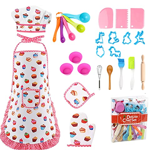 Kids Cooking and Baking Set 26PCS Kids Chef Set Apron Chef Hat Kids Chef Role Play Costume Dress Up Role Play Toys Pretend Play Cooking Baking Gifts Birthday Unisex Boys Girls (Pink Cake)