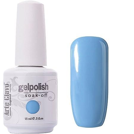Amazon Com Arte Clavo Light Sky Blue Nail Gel Polish Harmless Resin Professional Lacquer Soak Off Nail Art Uv Lamp Led 15ml Health Personal Care