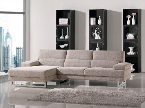 Hot Sale Como Beige Microfiber Fabric Living Room Sectional Sofa