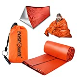 FosPower Emergency Survival Shelter & Sleeping Bag Bivy Sack, Ultralight Mylar Thermal Blanket, Portable Waterproof Tent with Survival Whistle for Outdoor Camping, Hiking, Bivvy Tent, Shelter