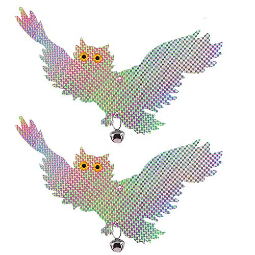 鳥よけ ふくろう 置物 首振り 防鳥 害鳥対策 鳩対策 鳩よけ 立体感 光沢感 撃退 本物そっくり 庭 ベランダ 田畑 鈴つき