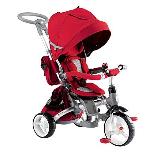 Happy Kids Triciclo Passeggino Seggiolino Reversibile 6in1 Rosso
