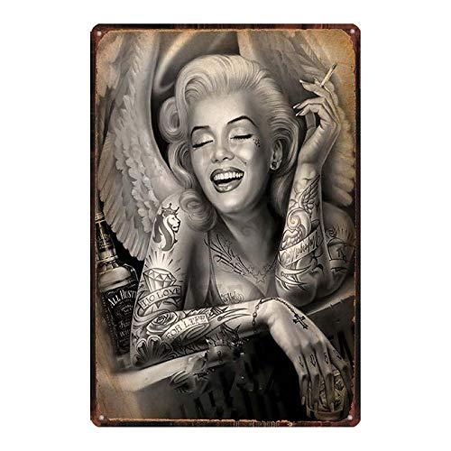 Monroe cartel de la película estrella del sexo amante chica metal estaño placa retro pared bar restaurante arte familiar cine tienda de tatuajes decoración etiqueta de la pared 20x30 cm DU-7285