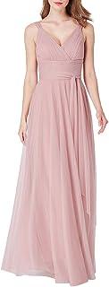 Ever-Pretty Vestito da Cerimonia Donna Tulle Linea ad A Scollo a V Senza Maniche Lungo 07303