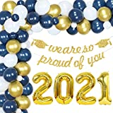 Graduation Decorations 2021 Blue and Gold Balloon Arch Kit We are So Proud of You Banner 2021 Foil Balloon for Class of 2021 Navy Blue and Gold Graduation Party Supplies