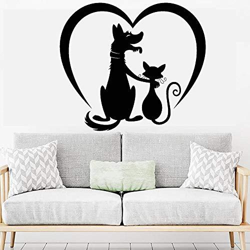 HGFDHG Salón de Aseo de Mascotas Pegatinas de Pared Art Deco Perro Gato Amigos Vinilo Pegatinas de Pared para habitación de niños decoración del hogar