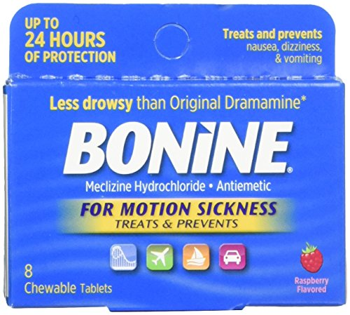 Bonine for Motion Sickness Chewable Tablets, Raspberry Flavored, 8 Each