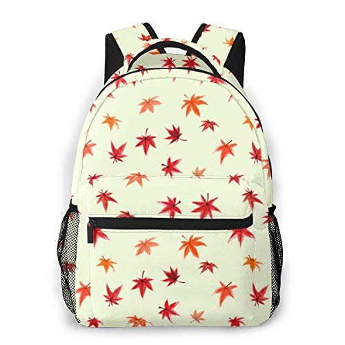 Lawenp School Backpacks Pattern with Red Leaves Japanese Maple for Teen Girls&Boys 16 Inch Backpack Student Bookbags Laptop Casual Rucksack Travel Backpack