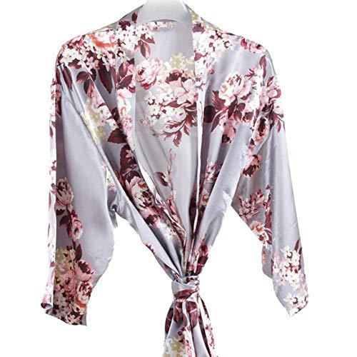 YRTHOR Albornoz Floral para Mujer, Bata de Kimono Corta de satén de Seda, Vestido de Noche, Toalla, Bata de baño, Boda, Novia, Bata de Dama de Honor, Ropa para el hogar,Gris Azul,L