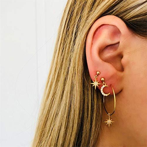 Weiy Kreis Kristall Stern Mond Ohrstecker Mode Einfache Stilvolle Attraktive Tropfen Ohrringe Schöne Schmuck Zubehör Geschenk Für Frauen Mädchen
