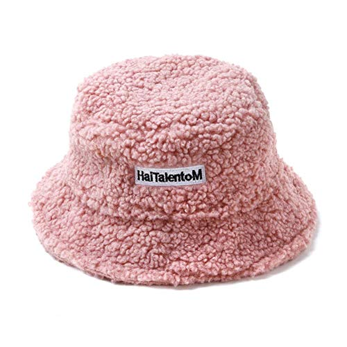 UKKD Bucket hat Faux Fur Winter Bucket Hat for Women Girl Solid Thickened Soft Warm Fishing Cap Outdoor Lady Plush Fluffy Panama,Pink,55-58Cm