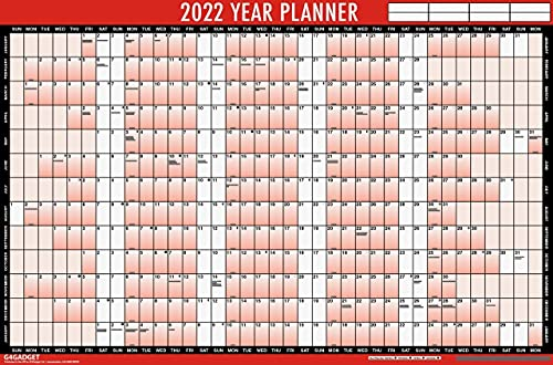 Wall Calendar and Year Planner 2022 – Large Laminated Wall Calendar – Wall Planner with Wipe Dry Pen & Sticker Dots – 85 cm x 58 cm – Plan Your Year Ahead – Remember Important Dates