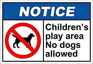 Ohuu Children's Play Area No Dogs Allowed Notice OSHA/ANSI Sign Metal Funny Warning Signs for House Decor 8x12 Inches
