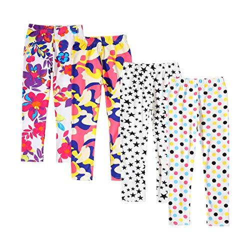 Allesgut Meisjes Verschillende Leggings Enkellengte Broek Voetloze Panty 4 Pack voor 3-12 Jaar