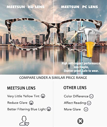 MEETSUN Blue Light Blocking Glasses, Anti Eye Strain Headache (Sleep Better),Computer Reading Glasses UV400 Transparent Lens (2 Pack Black +Leopard lens, 53)