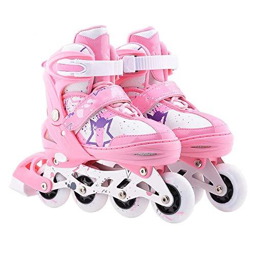 MY1MEY Single Wheel Sneaker Schuhe Verstellbare Inline Skates, Rolling Light Up Wheels Rollerblades mit Tasche und Sicherheitsausrüstung für Mädchen Jungen Kinder und Erwachsene, Pink, S (30 bis 33)