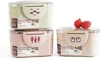SHIHONGPINGランチボックス ランチボックスプラスチック製電子レンジポータブルダブルレイヤー食品容器フルーツストレージのためにピクニック学校オフィスワーカー (Color : S Green)
