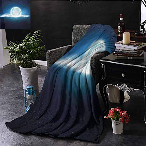 EDZEL Best Blankets Dark Blue Full Moon with Clouds Sofa Chair 84x70 Inch
