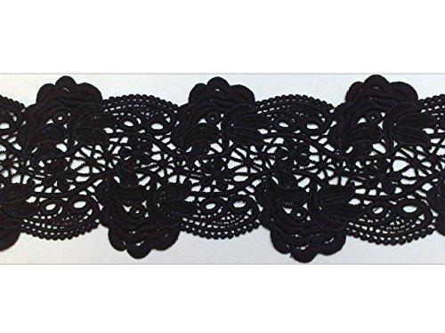 1m ÄtzSpitze Spachtelspitze Spitzen-Borte Guipure Zierband Vintage Shabby 120mm breit Farbe: schwarz 797