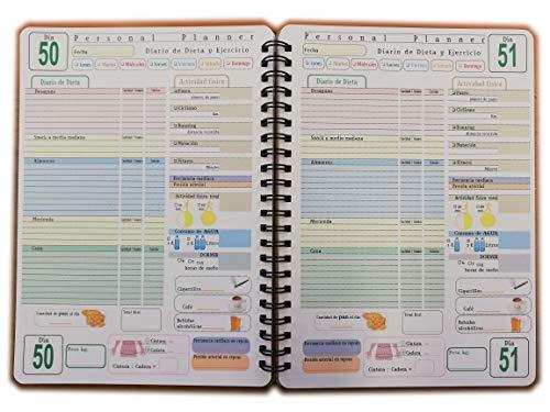Personal Planner - DIARIO de DIETA - 100 DÍAS - Cuaderno con Espiral - tamaño A5 15x21cm - Español