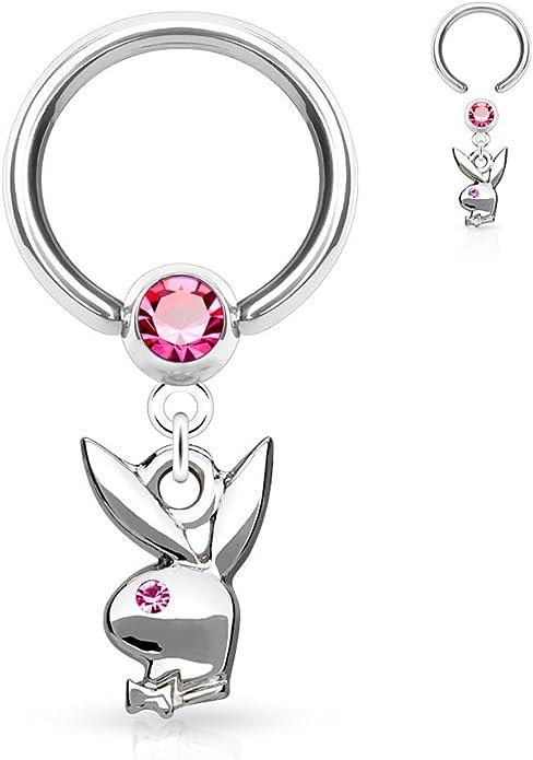 Enamel Playboy Dangle Crystal Captive Ring