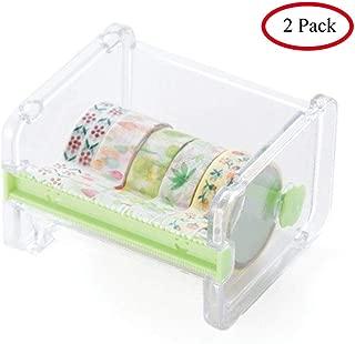 Mvchif 2 Pack Tape Dispenser Transparent Washi Tape Cutter Roll Tape Holder for Desk (2 Pack-Green)
